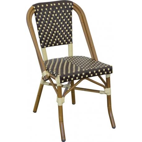 Image of   Cafe stol Mia - mørkebrun/beige