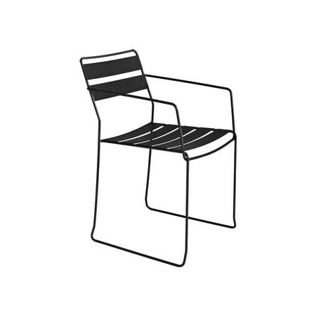 Billede af Straw stål stol med armlæn - sort