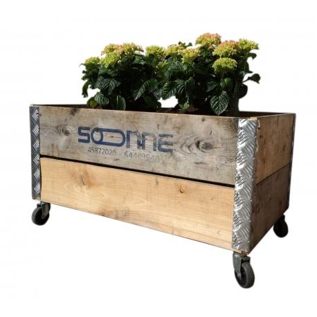 Image of   Pallekasse boks af genbrugstræ, 91x51x48 cm