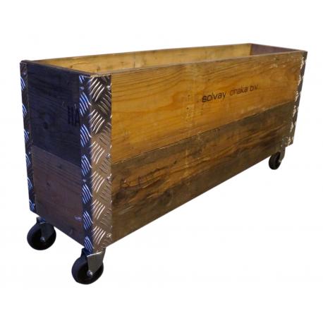 Image of   Pallekasse boks af genbrugstræ, 103x25x48cm